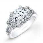 18k White Gold Split Shank White Diamond Engagement Ring with Trapezoid Side Stones