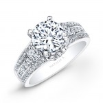14k White Gold Three Row White Diamond Engagement Ring