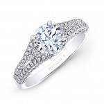 18k White Gold Prong and Bezel Set White Diamond Engagement Ring