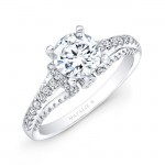 14k White Gold Prong and Bezel Round Diamond Engagement Ring
