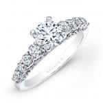 14k White Gold Prong Bezel Set White Diamond Engagement Ring