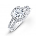 14k White Gold Split Shank Square Halo Diamond Engagement Ring