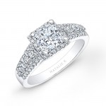 14k White Gold Square Halo Three Row Diamond Engagement Ring