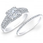 14k White Gold Square Halo Three Row Diamond Bridal Set