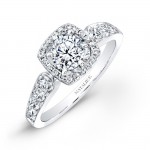14k White Gold Pave Square Halo Diamond Engagement Ring