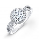 18k White Gold Split Shank Halo Diamond Engagement Ring