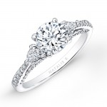 18k White Gold Three Stone Diamond Engagement Ring with Pear Shaped Side Stones