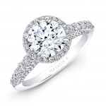 18k White Gold Elongated Shank Diamond Halo Engagement Ring