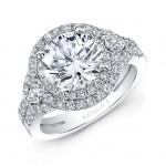 18k White Gold Split Shank Double Halo Diamond Engagement Ring