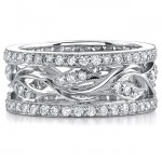 14k White Gold Fashion Diamond Leaf Band NK8445-W