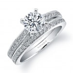 18k White Gold Pave Round Diamond Bridal Set
