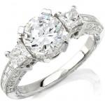 14k White Gold Three Stone Diamond Semi Mount Engagement Ring NK8791-W