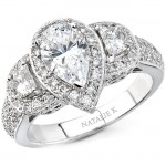 14k White Gold Three Stone Pear Shaped Diamond Semi Mount Engagement Ring - NK9877-W