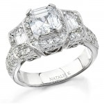 14k White Gold Three Stone Diamond Engagement Ring NK9879-W