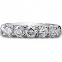 14k White Gold Classic Five-Stone Diamond Wedding Ring