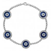 14k White Gold 5 Evil Eye Diamond Tennis Bracelet