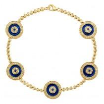 14k Yellow Gold 5 Evil Eye Diamond Tennis Bracelet