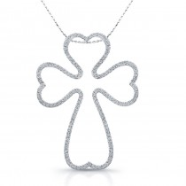 14k White Gold Diamond Cross Heart Edge Pendant