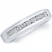 14k White Gold Round Diamond Men's Band