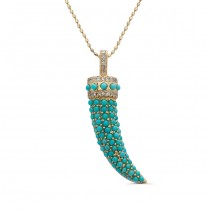 14k Yellow Gold Diamond Pave Turquoise Horn Pendant