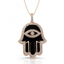 14k Rose Gold Black Enamel Diamond Hamsa Pendant