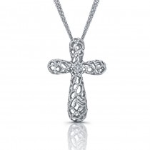 14k White Gold Diamond Webbed Cross Pendant