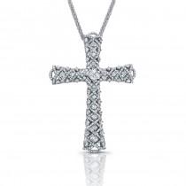 14k White Gold Large Woven Diamond Cross Pendant