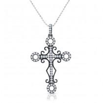 18k Black Gold Vintage Diamond Cross Pendant