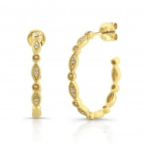 14k Yellow Gold Diamond Pave Hoop Earrings