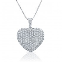 14k White Gold Micro Pave Set Heart Pendant