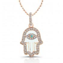 14k Rose Gold Diamond White Enamel Hamsa Pendant