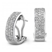 14k White Gold Diamond Pave Hoops