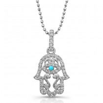 14k White Gold Diamond and Turquoise Hamsa Pendant