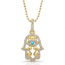 14k Yellow Gold Diamond and Turquoise Hamsa Pendant