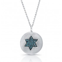 14k White Gold Blue Diamond Star of David Disk Pendant