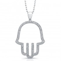 14k White Gold Pave Diamond Hamsa Pendant
