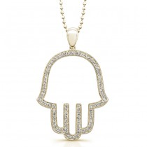 14k Yellow Gold Pave Diamond Hamsa Pendant
