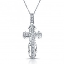 14k White Gold Antique Diamond Cross Pendant