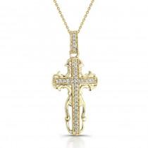 14k Yellow Gold Antique Diamond Cross Pendant