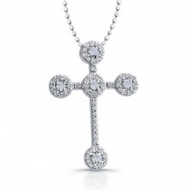 14k White Gold Diamond Accent Cross Pendant