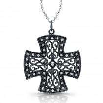 14k Black Gold Prong Set Diamond Cross Pendant