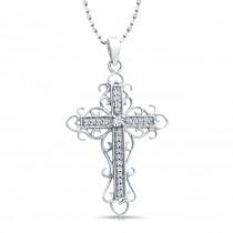14k White Gold Vintage Diamond Cross Pendant
