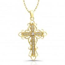 14k Yellow Vintage Gold Diamond Cross Pendant