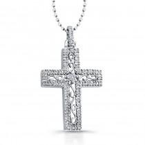 14k White Gold Diamond Edge Cross Pendant
