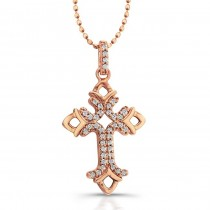 14k Rose Gold Diamond Open Cross Pendant