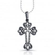 14k Black Gold Diamond Accent Edge Cross Pendant