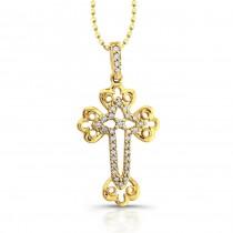 14k Yellow Gold Diamond Accent Edge Cross Pendant