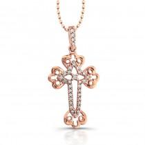 14k Rose Gold Diamond Accent Edge Cross Pendant