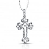14k White Gold Diamond Accent Edge Cross Pendant
