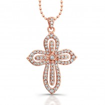 14k Rose Gold Diamond Cut-Out Cross Pendant
